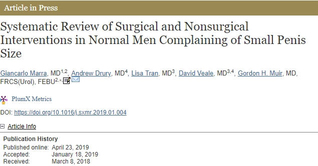 ISSM Systematic Review of Surgical and Nonsurgical Interventions in Normal Men Complaining of Small Penis Size credits